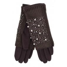 На фото 1 - Шерстяные митенки с вышивкой и  текстильными перчатками, цвет шоколад