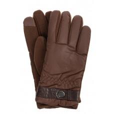 На фото 1 - Утеплённые мужские перчатки из мембранного материала, цвет коричневый