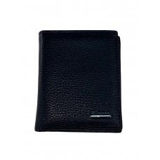 На фото 1 - Мужской кошелёк из фактурной натуральной кожи, цвет чёрный