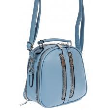 На фото 1 - Женская сумка-купол из искусственной кожи, голубая