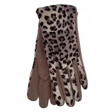 На фото 1 - Женские перчатки из велюра и текстиля с леопардовым принтом, цвет бежевый