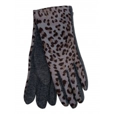 На фото 1 - Женские перчатки из велюра и текстиля с леопардовым принтом, цвет серый