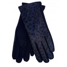 На фото 1 - Женские перчатки из велюра и текстиля с леопардовым принтом, цвет синий