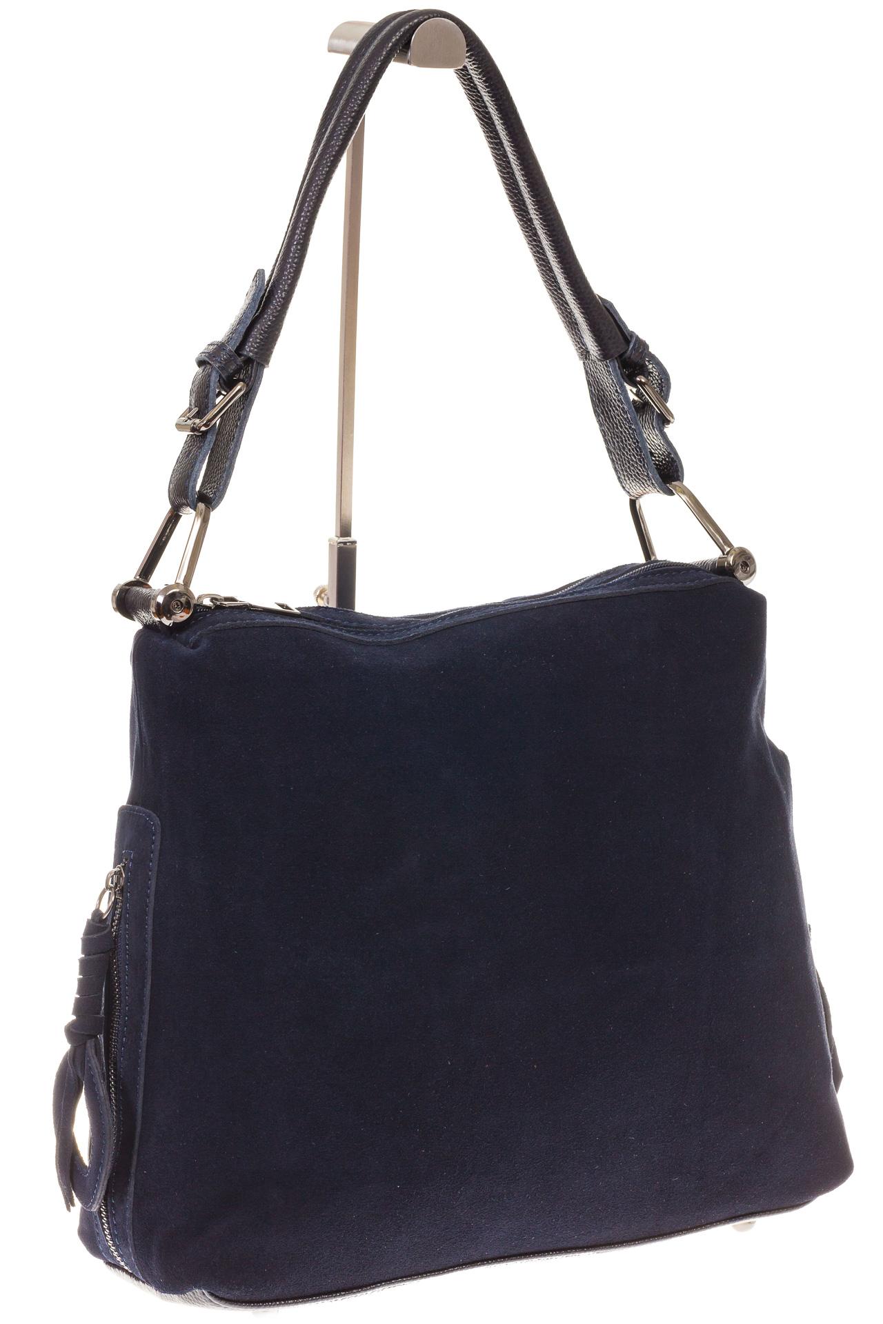 На фото 1 - Синяя замшевая сумка-трапеция с двумя отделениями