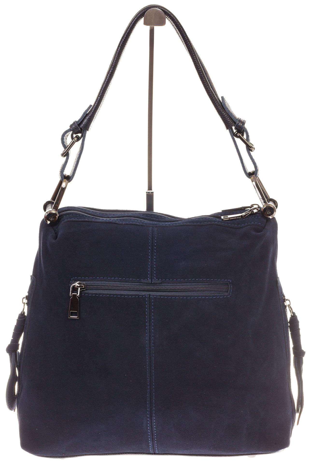 На фото 3 - Синяя замшевая сумка-трапеция с двумя отделениями