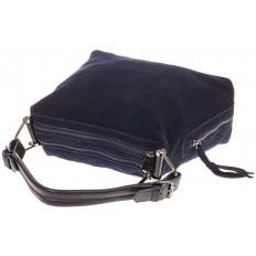 На фото 4 - Синяя замшевая сумка-трапеция с двумя отделениями