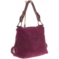 На фото 1 - Бордовая замшевая сумка-трапеция с двумя от...