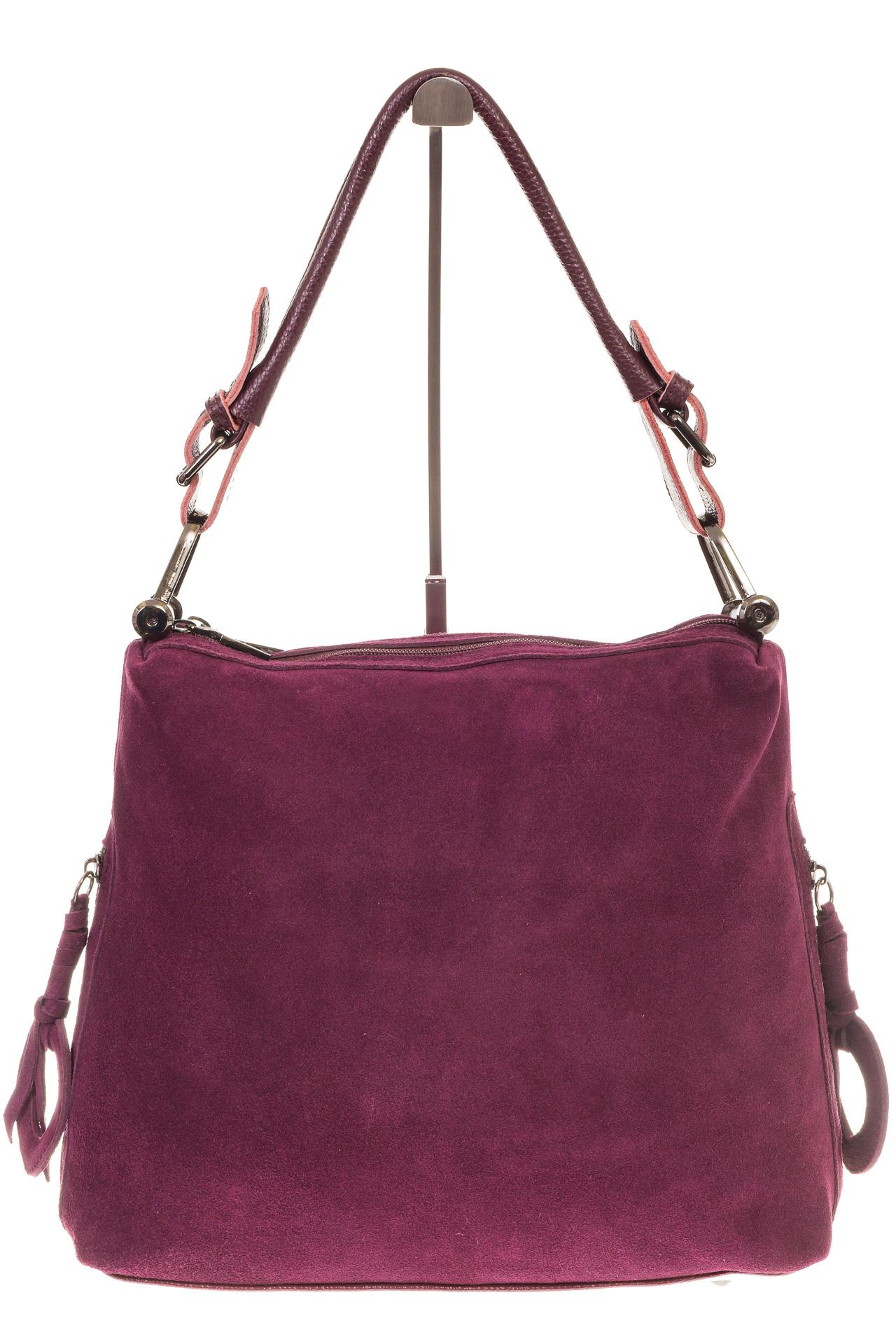 На фото 2 - Бордовая замшевая сумка-трапеция с двумя отделениями