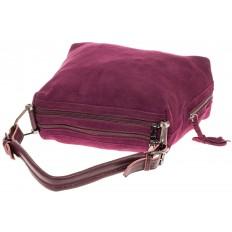 На фото 4 - Бордовая замшевая сумка-трапеция с двумя отделениями