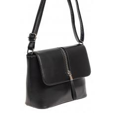 На фото 1 - Женская сумка кросс-боди из экокожи, цвет чёрный