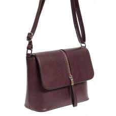На фото 1 - Женская сумка кросс-боди из экокожи, цвет бордовый