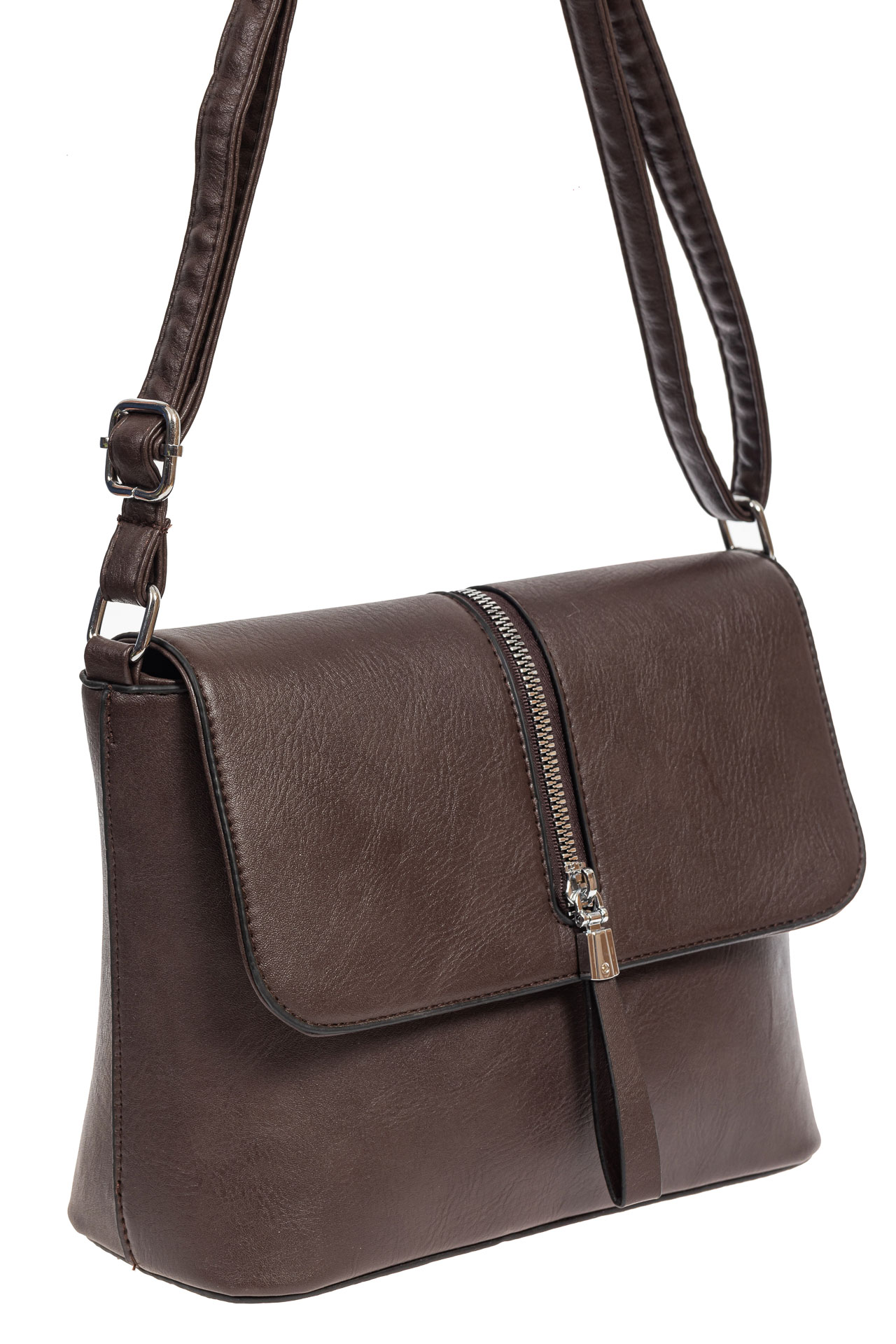 На фото 1 - Женская сумка кросс-боди из экокожи, цвет шоколад