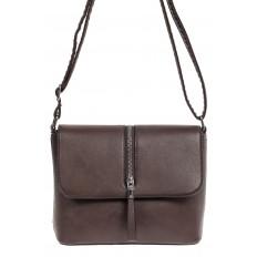 На фото 2 - Женская сумка кросс-боди из экокожи, цвет шоколад