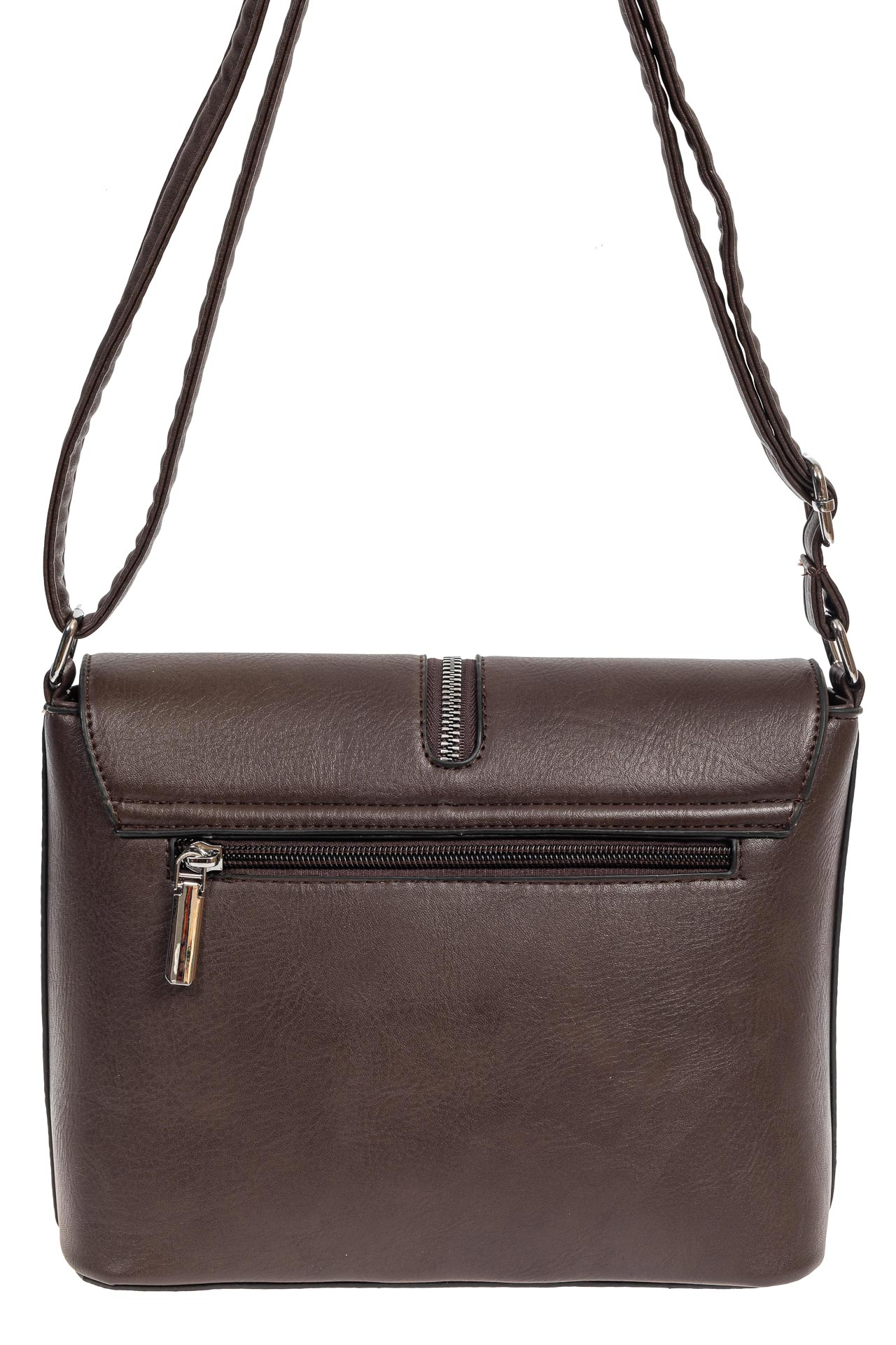 На фото 3 - Женская сумка кросс-боди из экокожи, цвет шоколад