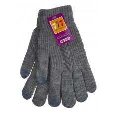 На фото 1 - Шерстяные женские перчатки со вставками Touch Screen, цвет серый