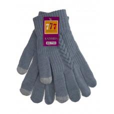 На фото 1 - Шерстяные женские перчатки со вставками Touch Screen, цвет сизый