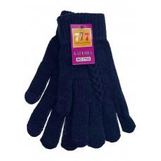 На фото 1 - Шерстяные женские перчатки со вставками Touch Screen, цвет тёмно-синий
