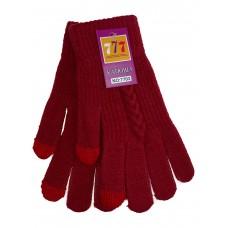 На фото 1 - Шерстяные женские перчатки со вставками Touch Screen, цвет рубиновый