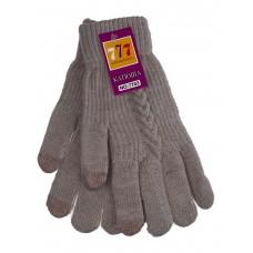 На фото 1 - Шерстяные женские перчатки со вставками Touch Screen, цвет какао