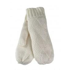 На фото 1 - Утеплённые женские варежки из шерсти, цвет белый