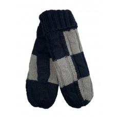 На фото 1 - Тёплые женские варежки из шерсти, цвет чёрный с серым