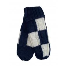 На фото 1 - Тёплые женские варежки из шерсти, цвет тёмно-синий с белым