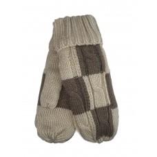 На фото 1 - Тёплые женские варежки из шерсти, цвет бежевый с коричневым