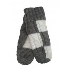 На фото 1 - Тёплые женские варежки из шерсти, цвет серый с белым