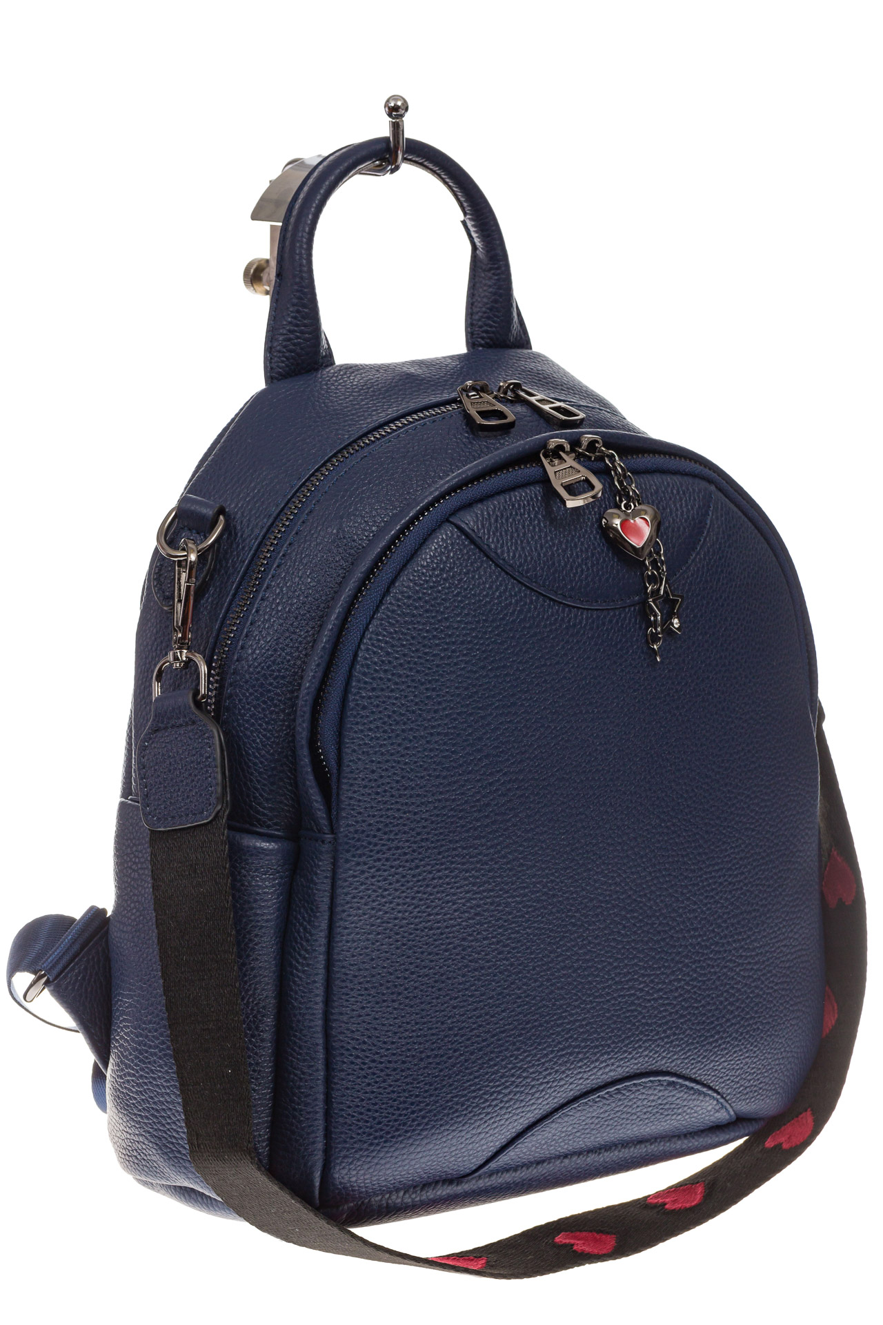 На фото 1 - Округлый женский рюкзак из натуральной кожи синего цвета