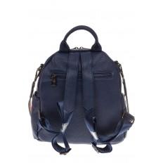 На фото 3 - Округлый женский рюкзак из натуральной кожи синего цвета