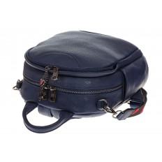 На фото 4 - Округлый женский рюкзак из натуральной кожи синего цвета