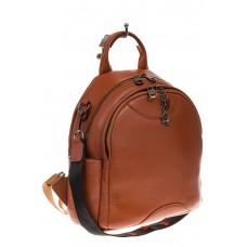 На фото 1 - Округлый женский рюкзак из натуральной кожи рыжего цвета