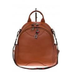На фото 2 - Округлый женский рюкзак из натуральной кожи рыжего цвета