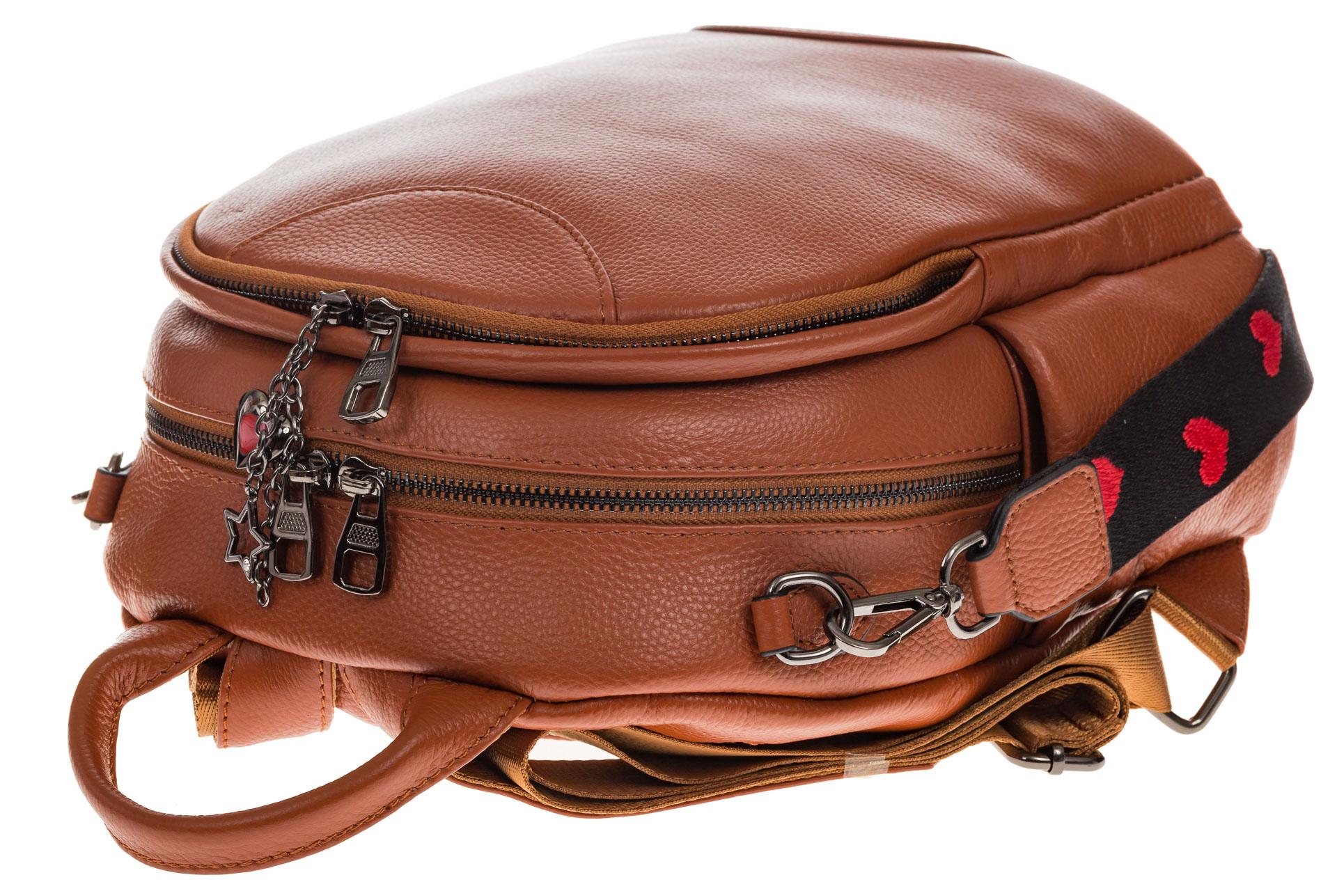 На фото 4 - Округлый женский рюкзак из натуральной кожи рыжего цвета