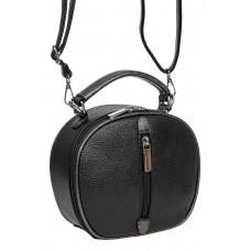 На фото 1 - Круглая сумочка кросс-боди из фактурной экокожи, цвет чёрный