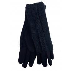 На фото 1 - Женские текстильные перчатки с шерстяными митенками, цвет чёрный