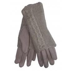 На фото 1 - Женские текстильные перчатки с шерстяными митенками, цвет пудра