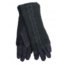 На фото 1 - Женские текстильные перчатки с шерстяными митенками, цвет графит