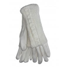 На фото 1 - Женские текстильные перчатки с шерстяными митенками, цвет белый