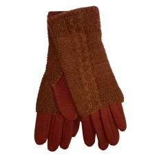 На фото 1 - Женские текстильные перчатки с шерстяными митенками, цвет кирпичный