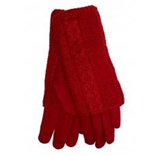 На фото 1 - Женские текстильные перчатки с шерстяными митенками, цвет красный