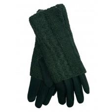 На фото 1 - Женские текстильные перчатки с шерстяными митенками, цвет зелёный