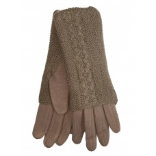 На фото 1 - Женские текстильные перчатки с шерстяными митенками, цвет песочный