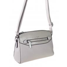 На фото 1 - Женская сумочка из фактурной искусственной кожи с лаковой вставкой, цвет серый