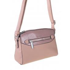 На фото 1 - Женская сумочка из фактурной искусственной кожи с лаковой вставкой, цвет пыльная роза