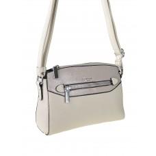 На фото 1 - Женская сумочка из фактурной искусственной кожи с лаковой вставкой, цвет молочный с пудровым