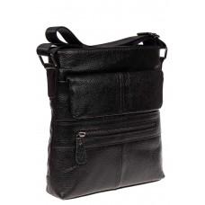 На фото 1 - Мужская сумка из натуральной кожи под документы, цвет черный