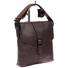 На фото 1 - Мужская сумка через плечо, цвет шоколад