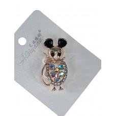 На фото 1 - Брошь ювелирная в виде мышонка со стразами