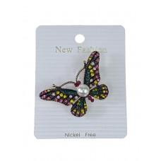 На фото 1 - Ювелирная брошь в форме бабочки с разноцветными стразами